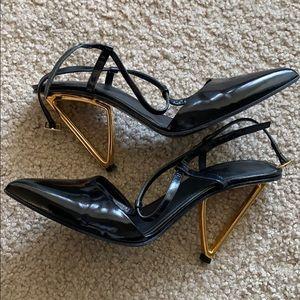Jason Wu Black Leather Architectural Gold Heel